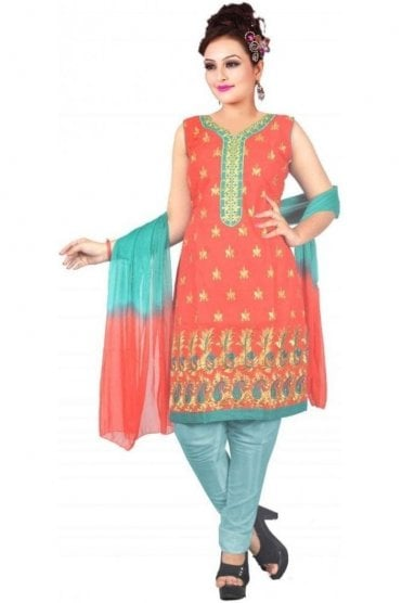 WCS19463 Red and Jade Green Designer Churidar Salwar Kameez