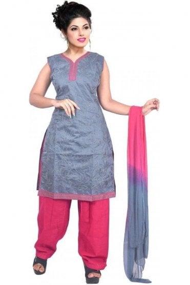 WCS19464 Grey and Pink Designer Churidar Salwar Kameez