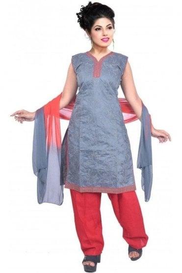 WCS19465 Grey and Red Designer Churidar Salwar Kameez