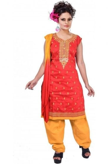 WCS19469 Red and Mustard Yellow Designer Churidar Salwar Kameez