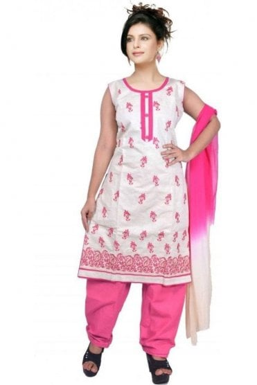 WCS19476 Cream and Pink Designer Churidar Salwar Kameez