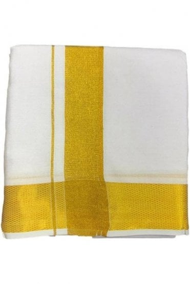 VST2004 Ivory & Gold Men's Traditional Veshti / Dhoti / Vasti with Angavastram