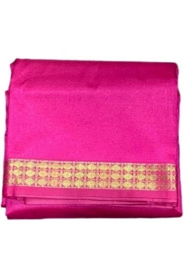 VST2013 Pink & Gold Men's Traditional Veshti / Dhoti / Vasti with Angavastram