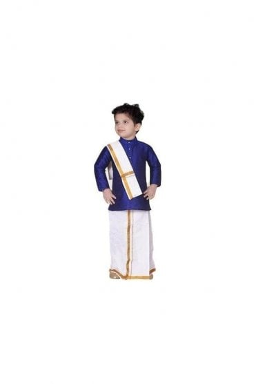 BVS3003 Blue and Cream Boys Veshti Sattai Angavastram Set