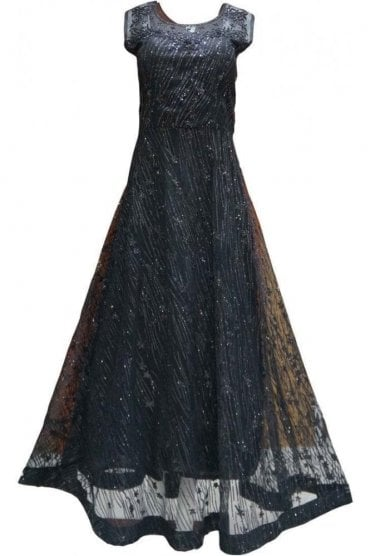 WPD19229 Black and Silver Designer Churidar Suit Gown