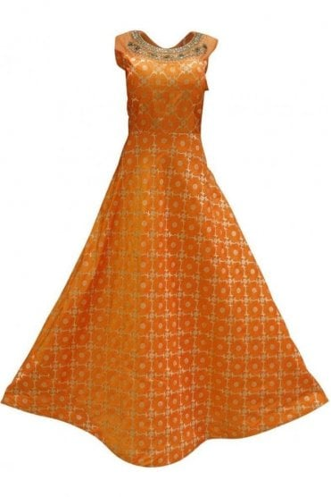 WPD19247 Orange and Gold Designer Churidar Suit Gown