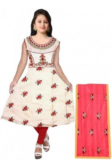 GCS20001 Cream and  Red Girl's Churidar Suit
