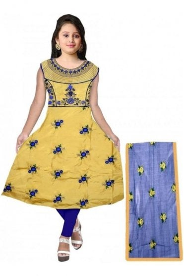 GCS20002 Yellow and Navy Blue Girl's Churidar Suit