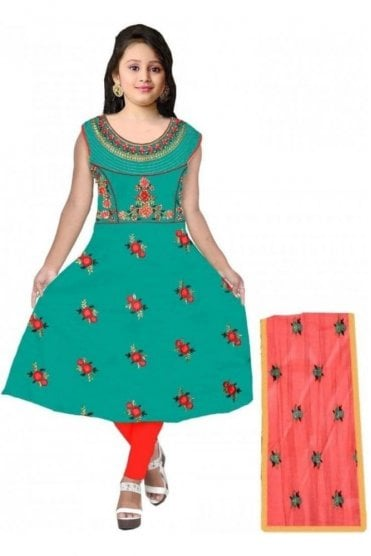 GCS20003 Green and Red Girl's Churidar Suit