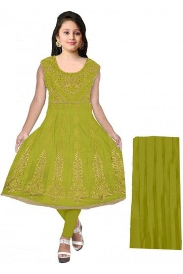 GCS20045 Green and Gold Girl's Churidar Suit
