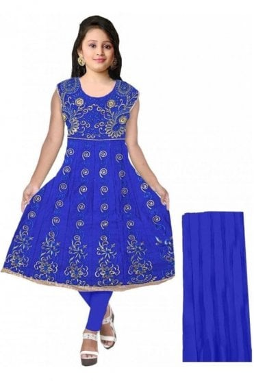GCS20048 Royal Blue and Gold Girl's Churidar Suit