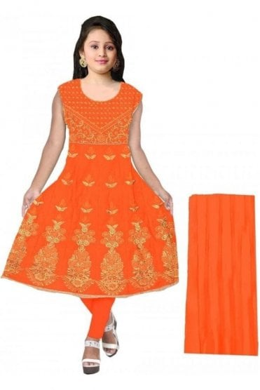 GCS20052 Orange and Gold Girl's Churidar Suit