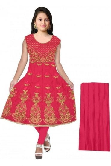 GCS20053 Pink and Gold Girl's Churidar Suit