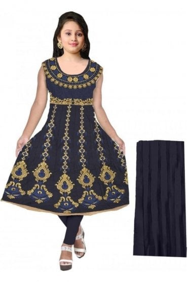GCS20054 Navy Blue and Gold Girl's Churidar Suit