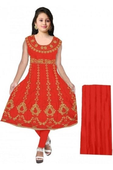 GCS20055 Red and Gold Girl's Churidar Suit