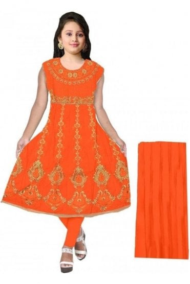 GCS20056 Orange and Gold Girl's Churidar Suit