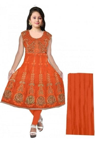 GCS20058 Orange and Gold Girl's Churidar Suit
