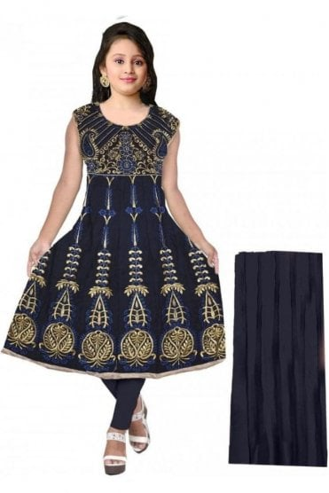 GCS20061 Navy Blue and Gold Girl's Churidar Suit