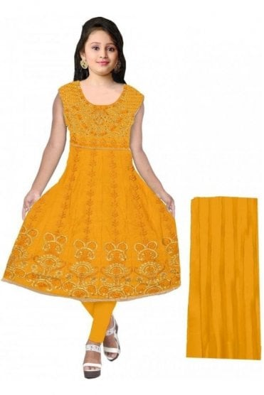 GCS20063 Mustard and Gold Girl's Churidar Suit