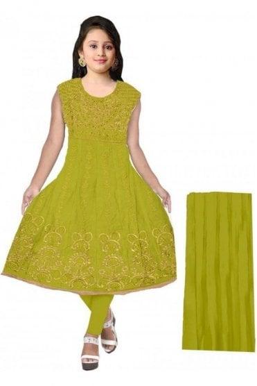 GCS20065 Green and Gold Girl's Churidar Suit
