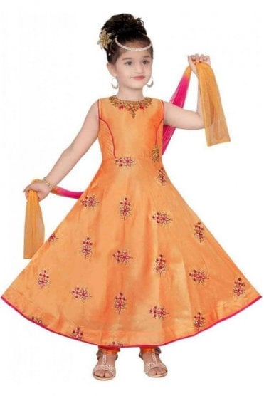 KCS20001 Peach and Pink Girl's Churidar Suit