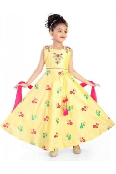 KCS20007 Yellow and Pink Girl's Churidar Suit