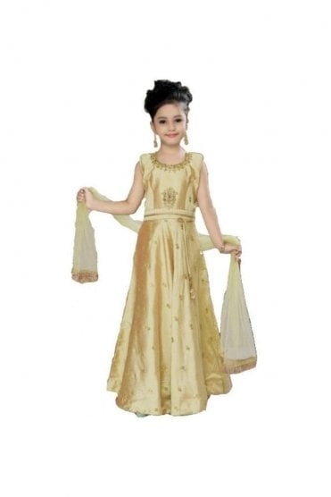 KCS20009 Pistachio Green and Gold Girl's Churidar Suit