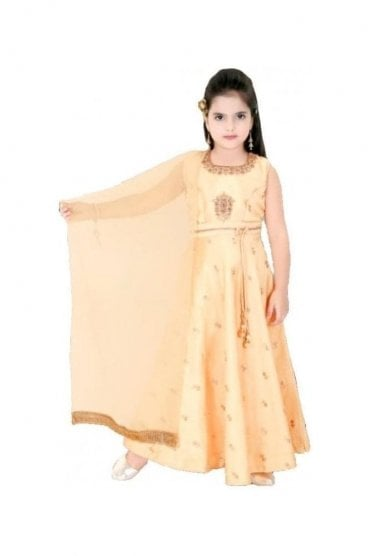 KCS20014 Peach and Gold Girl's Churidar Suit