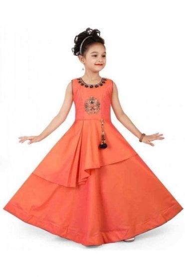 KCS20015 Peach and Navy Blue Girl's Churidar Suit