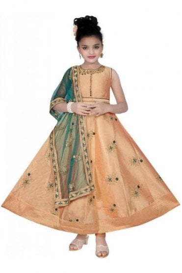 KCS20018 Peach and Green Girl's Churidar Suit