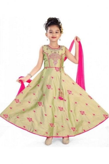 KCS20019 Beige and Pink Girl's Churidar Suit
