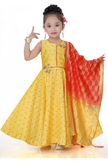 KCS20021 Yellow and Red Girl's Churidar Suit