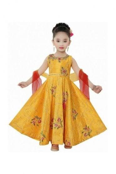 KCS20022 Yellow and Red Girl's Churidar Suit