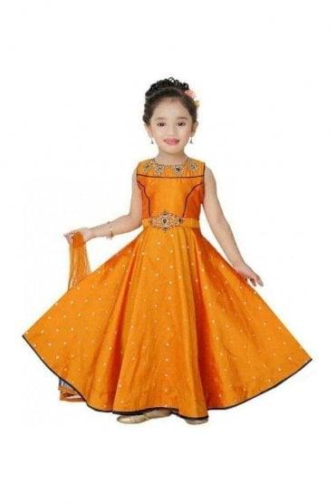 KCS20023 Mustard Yellow and Navy Blue Girl's Churidar Suit