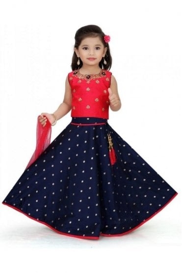KLC20001 Pink and Navy Blue Girl's Lengha Choli