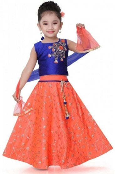KLC20002 Blue and Peach Girl's Lengha Choli