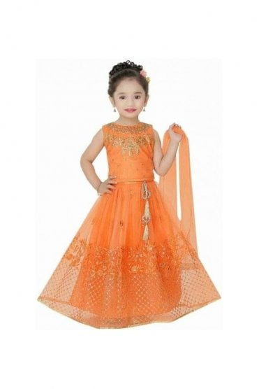 KLC20003 Orange and Gold Girl's Lengha Choli