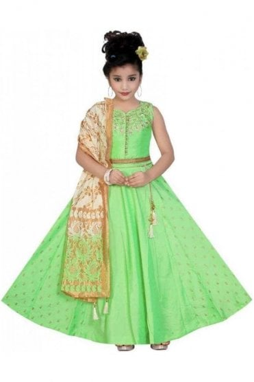 KLC20004 Green and Gold Girl's Lengha Choli