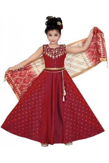 KLC20005 Maroon and Gold Girl's Lengha Choli