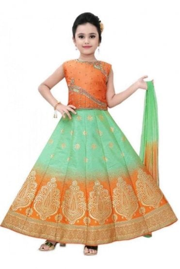KLC20006 Orange and Green Girl's Lengha Choli