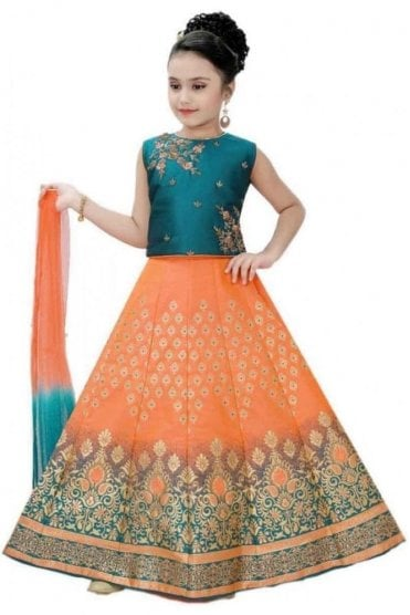 KLC20007 Jade Green and Peach Girl's Lengha Choli