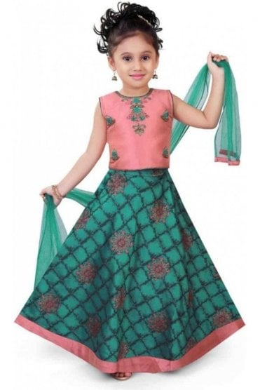 KLC20009 Pink and Jade Green Girl's Lengha Choli