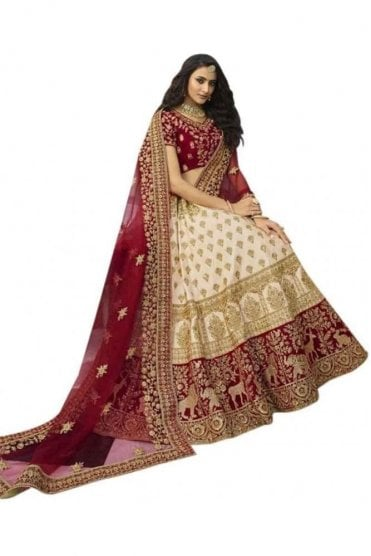 WBL20001 Stylish Red and Cream Bridal / Party Wear Lengha (Semi- Stitched)
