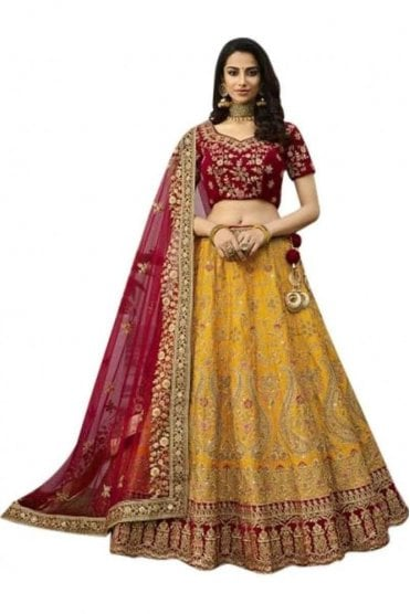 WBL20002 Elegant  Mustard Yellow and Red Bridal / Party Wear Lengha (Semi- Stitched)
