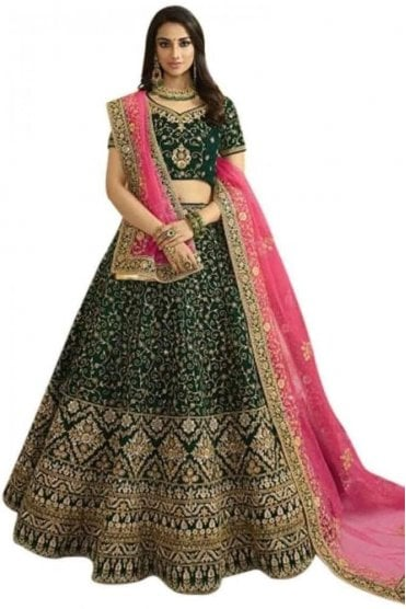 WBL20003 Beautiful  Bottle Green and Pink Bridal / Party Wear Lengha (Semi- Stitched)