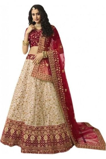 WBL20005 Exquisite Red and Gold Bridal / Party Wear Lengha (Semi- Stitched)