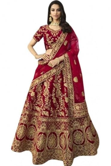 WBL20008 Stunning Red and Gold Bridal / Party Wear Lengha (Semi- Stitched)