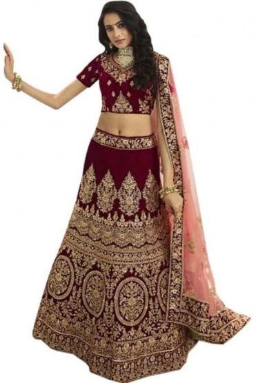 WBL20009 Latest Maroon and Peach Bridal / Party Wear Lengha (Semi- Stitched)