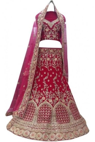 WBL20011 Elegant  Rani Pink and Gold Bridal / Party Wear Lengha (Semi- Stitched)