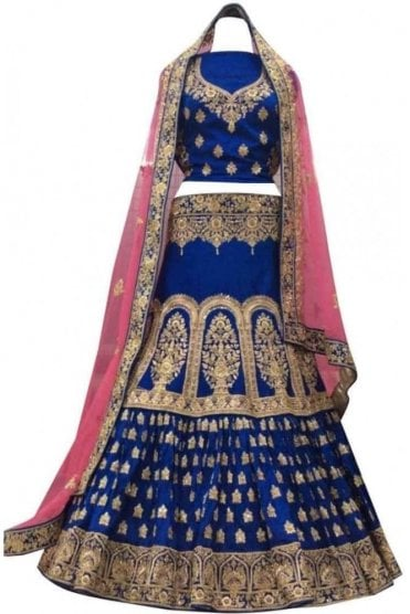 WBL20013 Stunning Blue and Pink Bridal / Party Wear Lengha (Semi- Stitched)